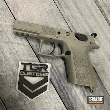 Cz P-07 Pistol Cerakoted Using Mcmillan® Tan And Bull Shark Grey