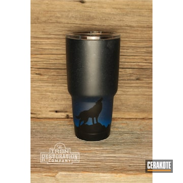 Custom Yeti Tumbler Cerakoted Using Kel-tec® Navy Blue, Socom Blue And Multicam® Dark Grey