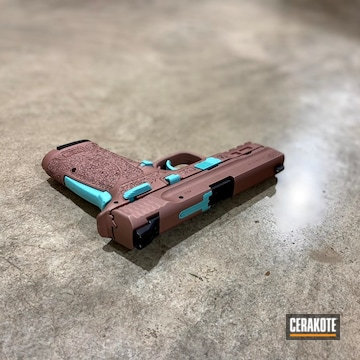 Smith & Wesson M&p Shield Cerakoted Using Rose Gold And Robin's Egg Blue