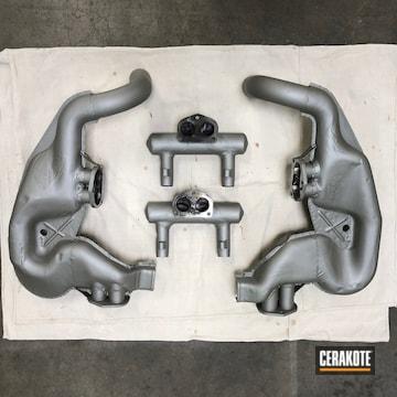 Porsche Exhaust Cerakoted Using Cerakote Glacier Titanium