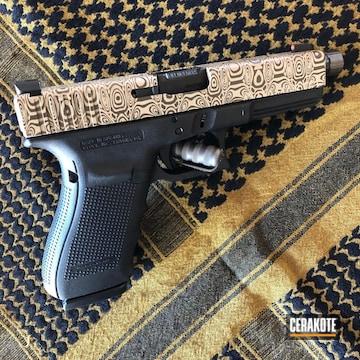 Glock 21 Pistol Cerakoted Using Desert Sand And Patriot Brown
