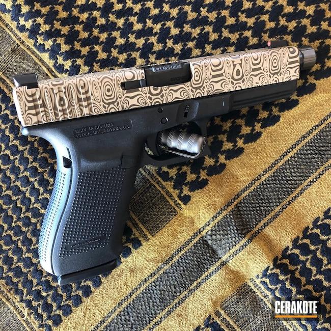 Cerakoted: S.H.O.T,.45,Glock 21,Damascus Steel,Desert Sand H-199,Patriot Brown H-226,Pistol,Glock,Damascus