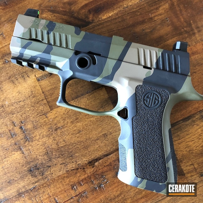 Cerakoted: Sig P320,Vietnam Tiger Stripe Camo,Tiger Stripes,Mud Brown H-225,Armor Black H-190,Pistol,O.D. Green H-236,GLOCK® FDE H-261