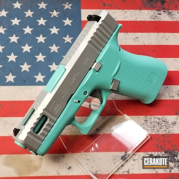 Glock 43x Cerakoted Using Satin Aluminum And Robin's Egg Blue