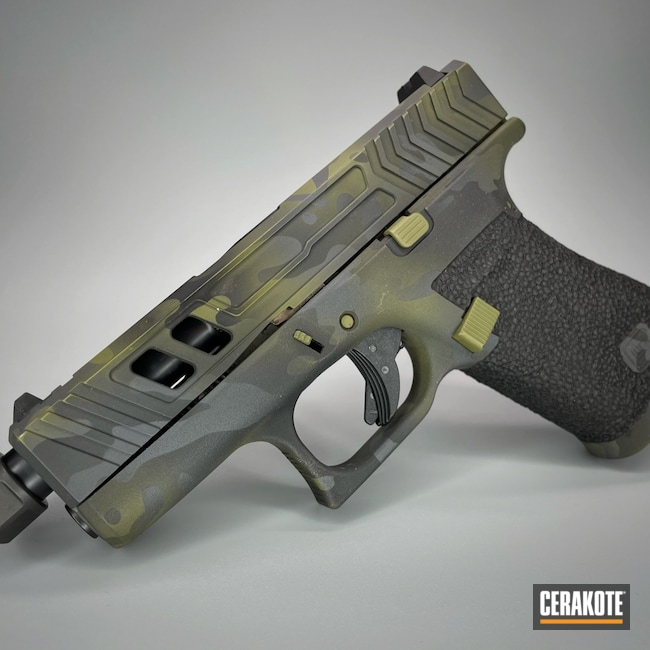 Cerakoted: S.H.O.T,9mm,Glock 43X,Sniper Grey H-234,g43x,Armor Black H-190,Glock,Noveske Bazooka Green H-189,MultiCam Black