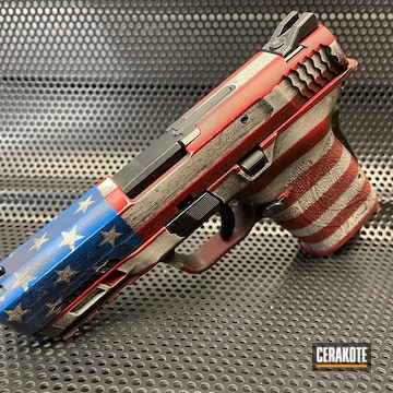 American Flag Themed Smith & Wesson M&p Cerakoted Using Ridgeway Blue, Armor Black And Stormtrooper White