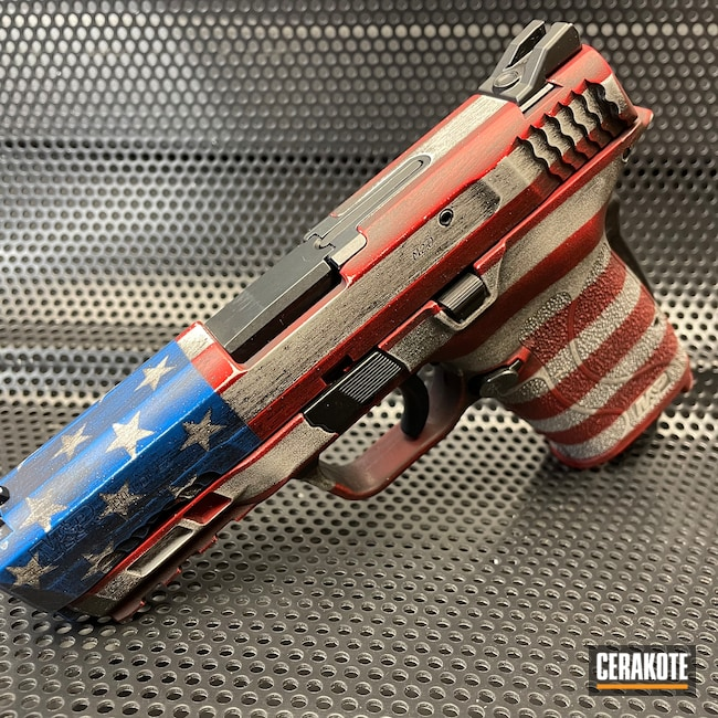 Cerakoted: S.H.O.T,M&P,Heat Shields,Smith & Wesson,Stormtrooper White H-297,USMC Red H-167,Ridgeway Blue H-220,Armor Black H-190,American Flag,Stars and Stripes