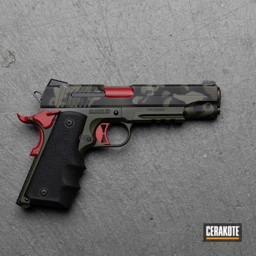 Custom Camo Sig Sauer 1911 Cerakoted Using Armor Black, Magpul® Foliage Green And Ruby Red