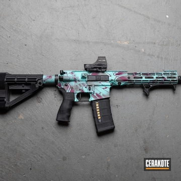 Custom Kryptek Camo Aero Precision Ar Build Cerakoted Using Wild Purple, Bull Shark Grey And Robin's Egg Blue