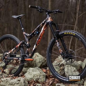 Custom Camo Commencal All Mountain Enduro Bike Cerakoted Using Barrett® Brown, Hunter Orange And Multicam® Dark Brown