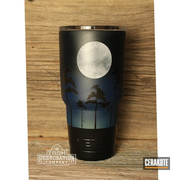 Full Moon Themed Custom Yeti Tumbler Cerakoted Using Socom Blue, Multicam® Dark Grey And Bright White