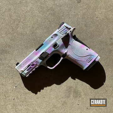 Smith & Wesson M&p 380 Shield Cerakoted Using Stormtrooper White And Blue Raspberry