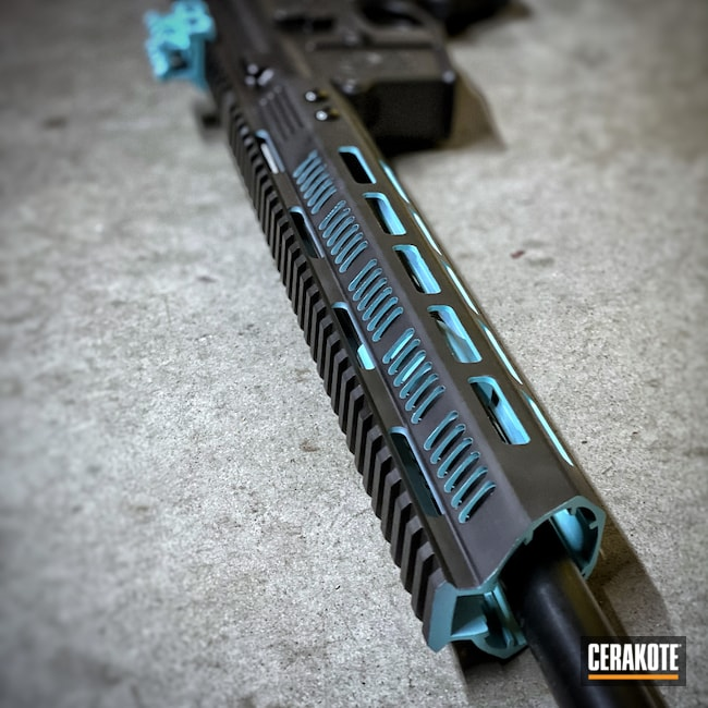 Cerakoted: S.H.O.T,Robin's Egg Blue H-175,Graphite Black H-146,AR,Two Tone,Smith & Wesson
