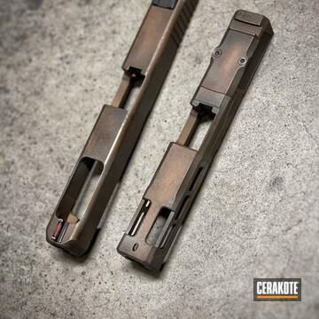 Glock 19 Slides Cerakoted Using Terra Cotta, Robin's Egg Blue And Burnt Bronze