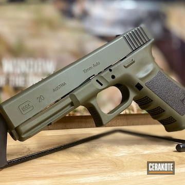 Glock 20 Cerakoted Using Graphite Black And Mil Spec O.d. Green