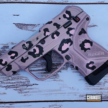 Pink Cheetah Print Themed Ruger Lpc Ii Cerakoted Using Bazooka Pink, Graphite Black And Pink Champagne