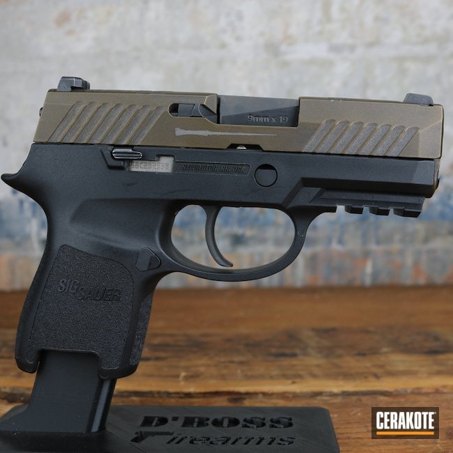 Cerakoted: S.H.O.T,9mm,Custom,Graphite Black H-146,P320,Harry Potter,Burnt Bronze H-148,Pistol,Sig Sauer
