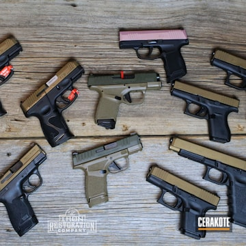 Pistols Cerakoted Using O.d. Green And Burnt Bronze