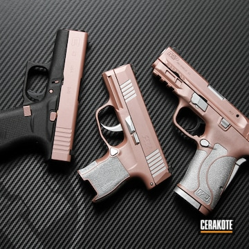 Sig Sauer Pistols And Glock Cerakoted Using Satin Aluminum And Rose Gold