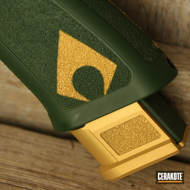 Cerakoted: S.H.O.T,Sig P320,DC Comics,Movie Theme,Aquaman,Theme,Jesse James Eastern Front Green H-400,Gold H-122