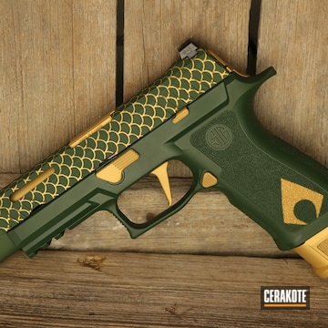 Sig Sauer P320 Cerakoted Using Jesse James Eastern Front Green And Gold