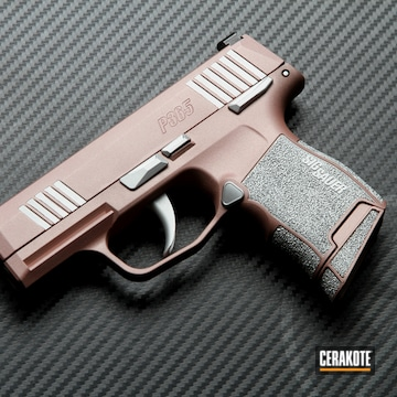 Sig Sauer P365 Cerakoted Using Satin Aluminum And Rose Gold