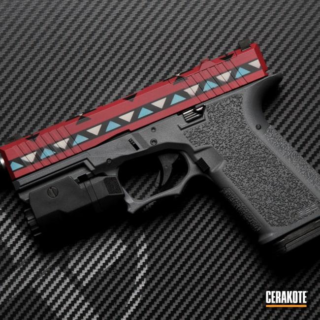 Glock 19 Cerakoted Using Aztec Teal, Graphite Black And Sedona