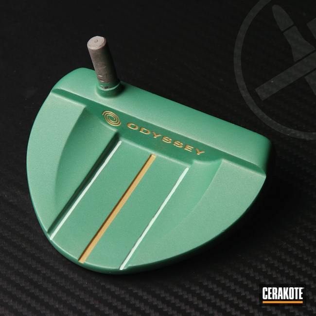 Cerakoted: S.H.O.T,Putter,Golf,SQUATCH GREEN H-316,Odyssey,Golf Clubs,Gold H-122