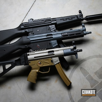 Ptr, Smg And Mp5 Cerakoted Using Satin Aluminum, Multicam® Dark Grey And Benelli® Sand