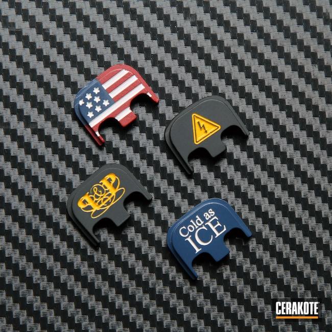 Cerakoted: S.H.O.T,Aluminum Backplate,Snow White H-136,Graphite Black H-146,USMC Red H-167,KEL-TEC® NAVY BLUE H-127,Glock