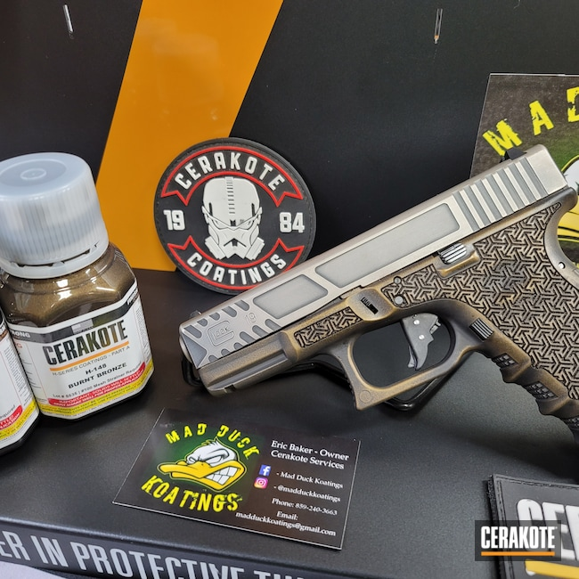 Cerakoted: S.H.O.T,Glock 19,Legal Manufacturing,Burnt Bronze H-148,Armor Black H-190