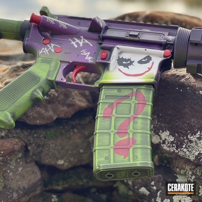 Cerakoted: S.H.O.T,Graphite Black H-146,AR,Bright Purple H-217,Zombie Green H-168,Stormtrooper White H-297,Armor Black H-190,.223,HABANERO RED H-318,Joker Themed,DPMS,AR-15