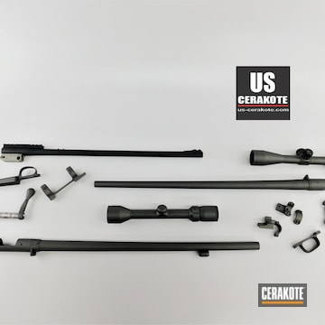 Rifle Barrel, Scope And Components Cerakoted Using Armor Black And Tungsten