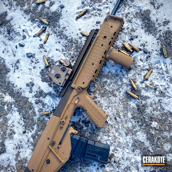 Cerakoted: S.H.O.T,Rifle,Bullpup,TROY® COYOTE TAN H-268,KelTec,.223,Midnight Bronze H-294