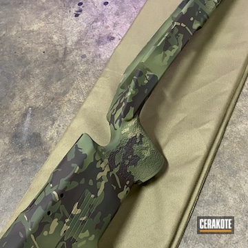 Custom Camo Rifle Chassis Cerakoted Using Noveske Bazooka Green, Magpul® O.d. Green And Barrett® Bronze