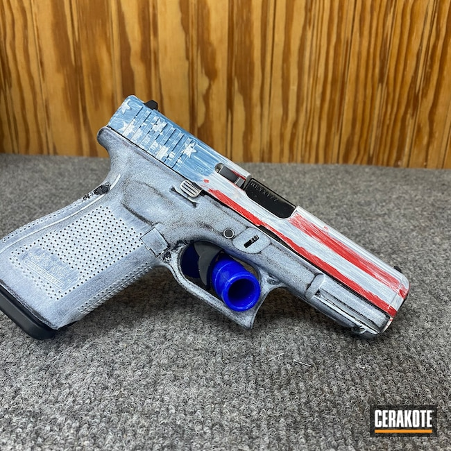 Cerakoted: S.H.O.T,Glock 19,9mm,Stormtrooper White H-297,Distressed Glock,USMC Red H-167,Worn,American Flag,Jesse James Civil Defense Blue H-401