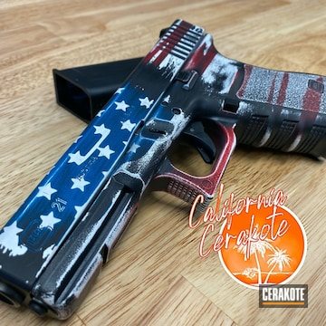 United States Flag Themed Glock 21 Cerakoted Using Usmc Red And Graphite Black
