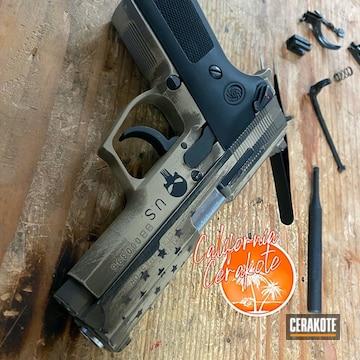 Custom Pistol Cerakoted Using Desert Sand, Coyote Tan And Graphite Black