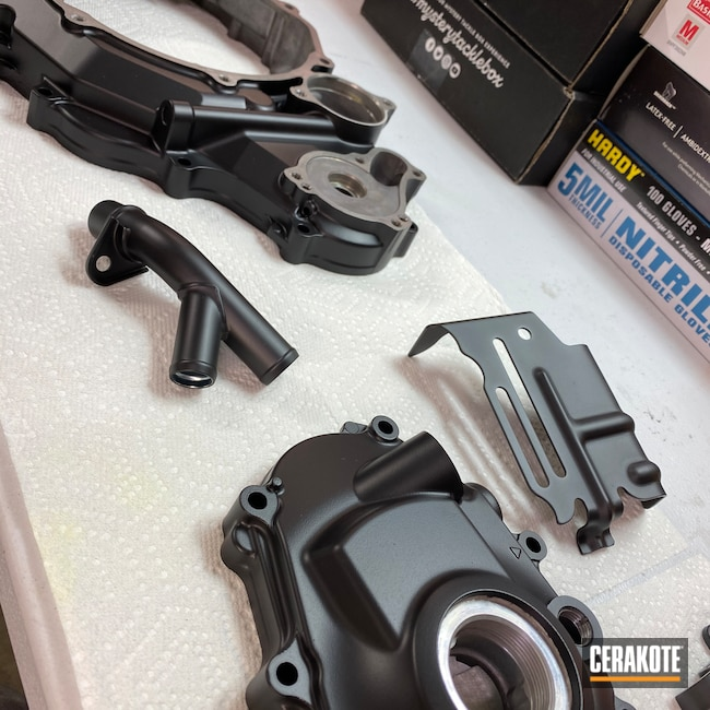Cerakoted: S.H.O.T,Graphite Black H-146,Motorcycle Parts,Yamaha,Engine,Automotive,Gold H-122