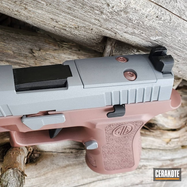 Cerakoted: S.H.O.T,9mm,Sig P320,P320,Crushed Silver H-255,Pistol,Sig Sauer,ROSE GOLD H-327