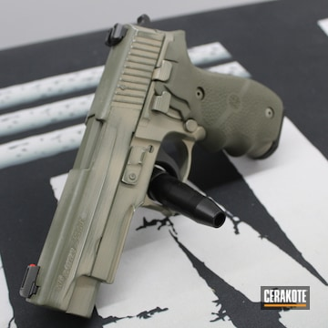 Distressed Sig Sauer P226 Cerakoted Using Mcmillan® Tan And Magpul® Foliage Green