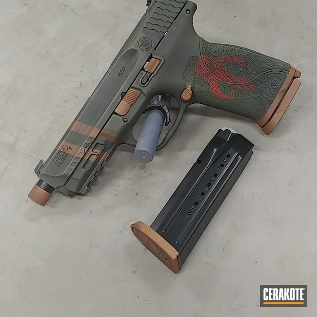 Smith & Wesson M&p Cerakoted Using Graphite Black, Copper And Multicam® Dark Green