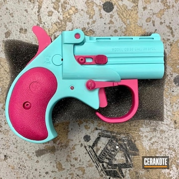 Cobra Enterprises Cb38 Big Bore Derringer .38 Special Cerakoted Using Prison Pink And Robin's Egg Blue