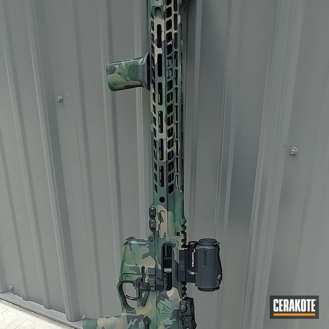 Cerakoted: S.H.O.T,Rifle,Woodland Camo,.223,Flat Dark Earth H-265,5.56,Highland Green H-200,Sniper Grey H-234,Woodland Camo Pattern,Sniper Green H-229,Graphite Black H-146,Camo,AR-15