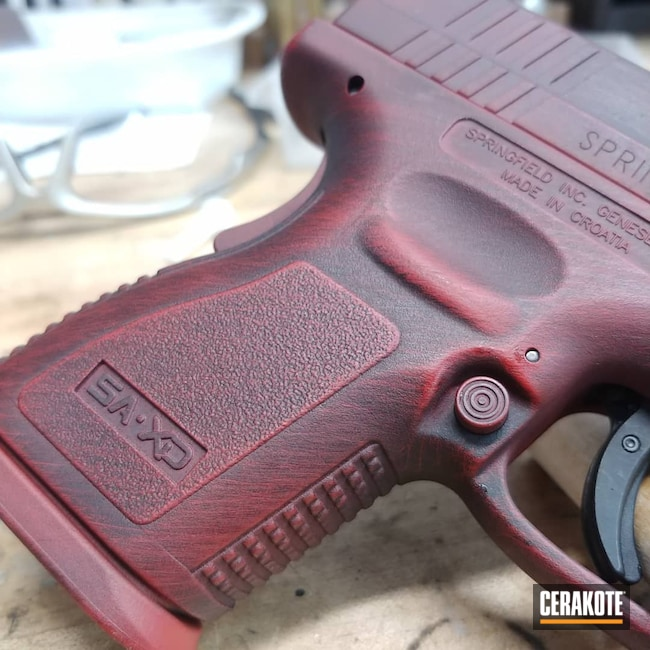 Cerakoted: S.H.O.T,Conceal Carry,Concealed,FIREHOUSE RED H-216,Battleworn,XD40,Graphite Black H-146,Pistol,Springfield Armory,Handguns,40cal