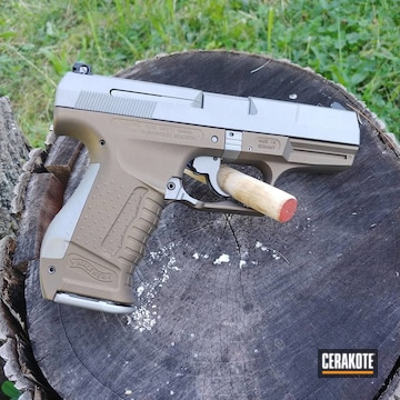 Walther P22 Cerakoted Using Crushed Silver And Burnt Bronze