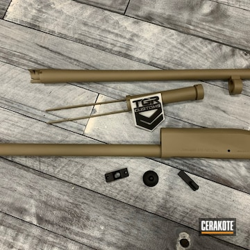 Remington 870 Chassis And Barrel Cerakoted Using Graphite Black And Magpul® Flat Dark Earth