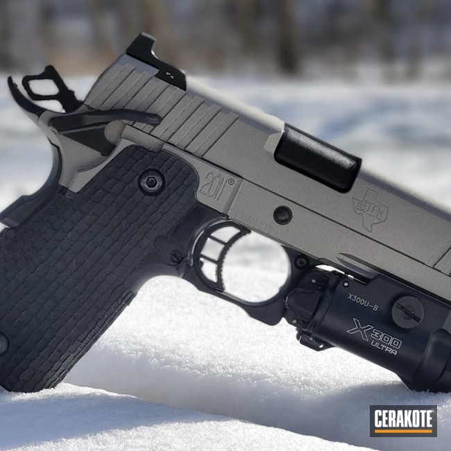 Cerakoted: S.H.O.T,9mm,STI,Titanium H-170,Armor Black H-190,2011,1911