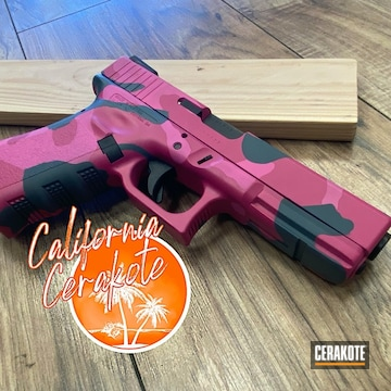 Custom Pink Camo Glock 17 Cerakoted Using Bazooka Pink, Prison Pink And Sniper Grey
