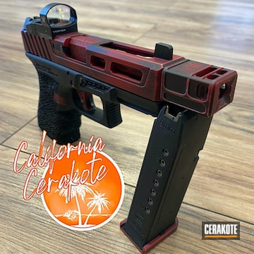 Battleworn Glock Cerakoted Using Crimson And Graphite Black